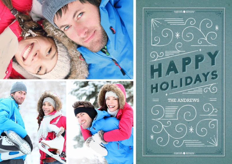 Holiday Photo Cards 5x7 Cards, Premium Cardstock 120lb with Elegant Corners, Card & Stationery -Holiday Scrollwork