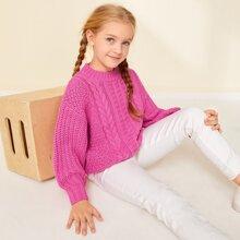 Girls Drop Shoulder Mixed Knit Sweater