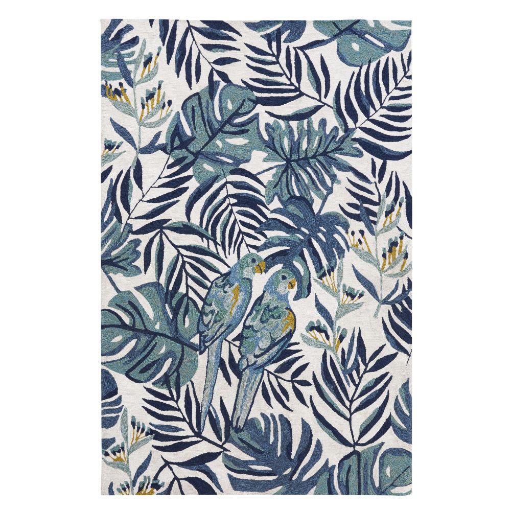 Outdoor-Teppich aus Polypropylen, ecrufarben mit Druckmotiv 160x230