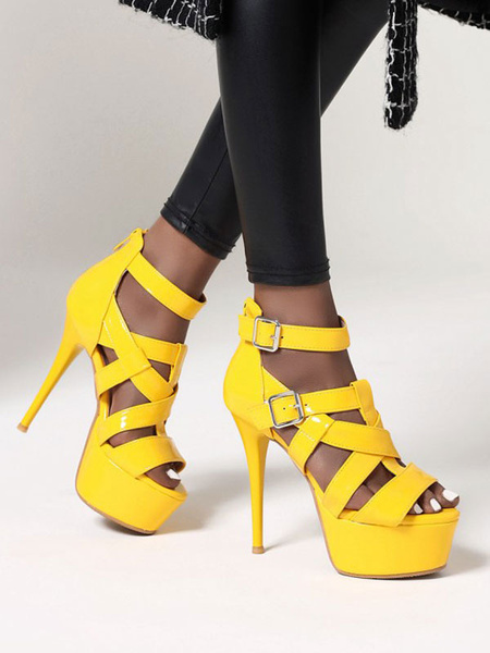 Milanoo Sandalias sexy para mujer Zapatos de charol plateados PU con punta redonda