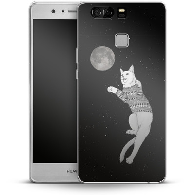 Huawei P9 Silikon Handyhuelle - Hipster Cat Trying to Catch the Moon von Barruf