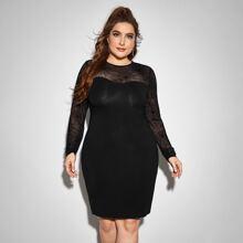 Figurbetontes Kleid mit Netzstoff