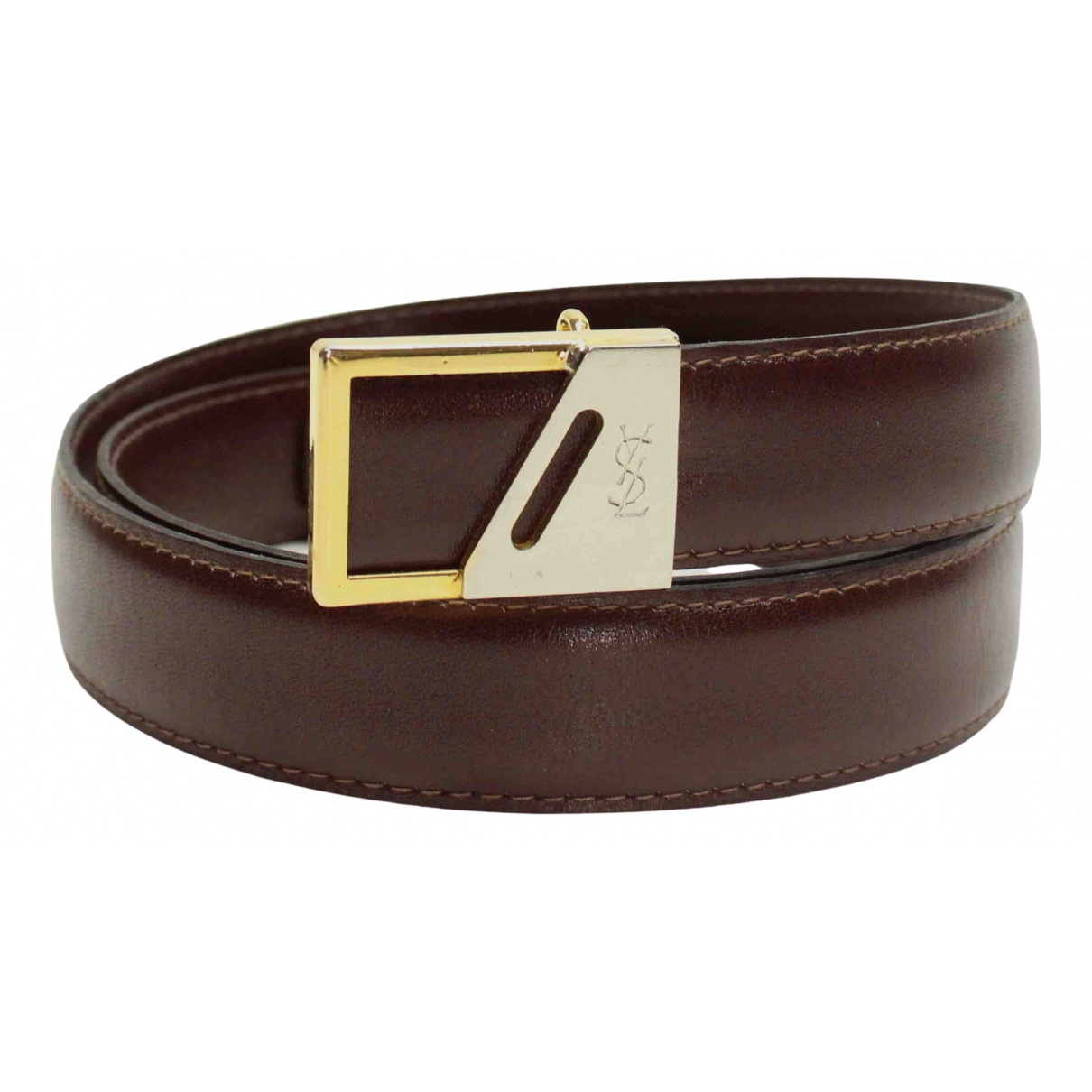 Yves Saint Laurent N Brown Leather belt for Men 95 cm