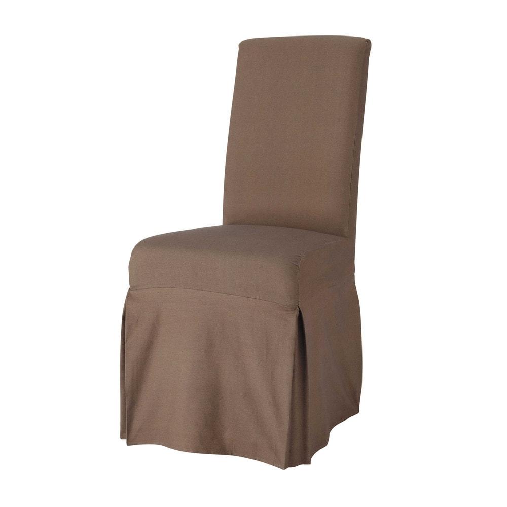 Stuhlbezug lang aus Baumwolle, taupe Margaux