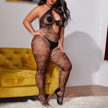 Plus Cut Out Cross Halter Bodystocking With Thong