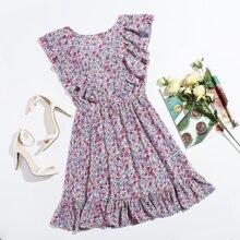 Vestido floral con cordon trasero ribete fruncido