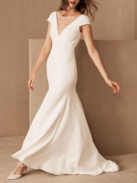 Milanoo Bridal Dress V-Neck Trumpet Mermaid Short Sleeves Zipper Back Wedding Dress