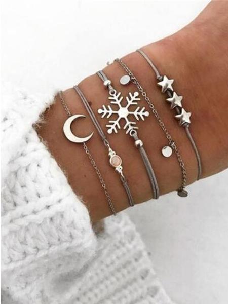 Yoins Silver Chain Metal Bracelet Set