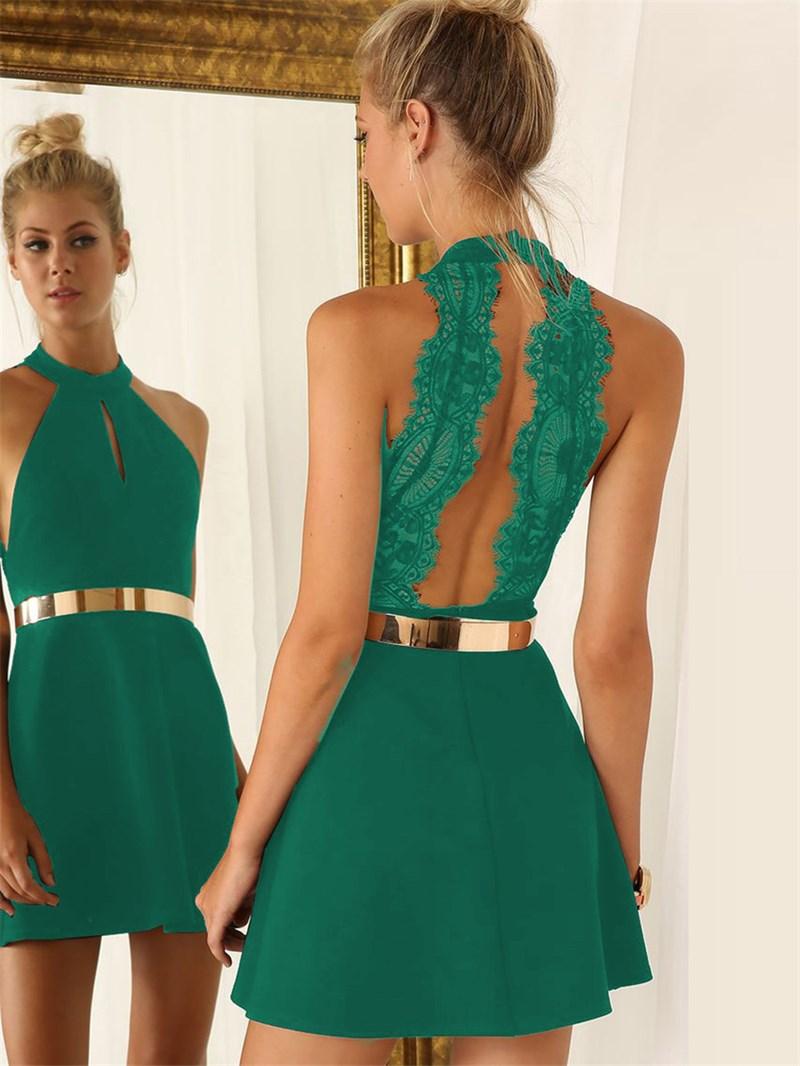Ericdress Halter Lace Hollow Cocktail Dress