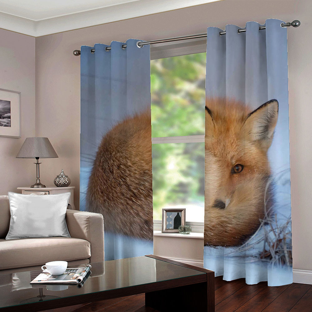 3D Fox Printed Blackout Decorative Window Curtains Custom 2 Panels Drapes No Pilling No Fading No off-lining