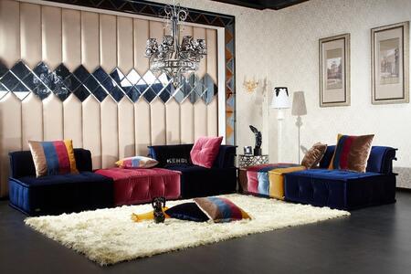 Divani Casa Dubai Collection VGKNK8450 5-Piece Modular Fabric Sectional Sofa with 2x Armless Chairs  Corner Seat and 2x