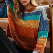 Drop Shoulder Striped Knit Sweater