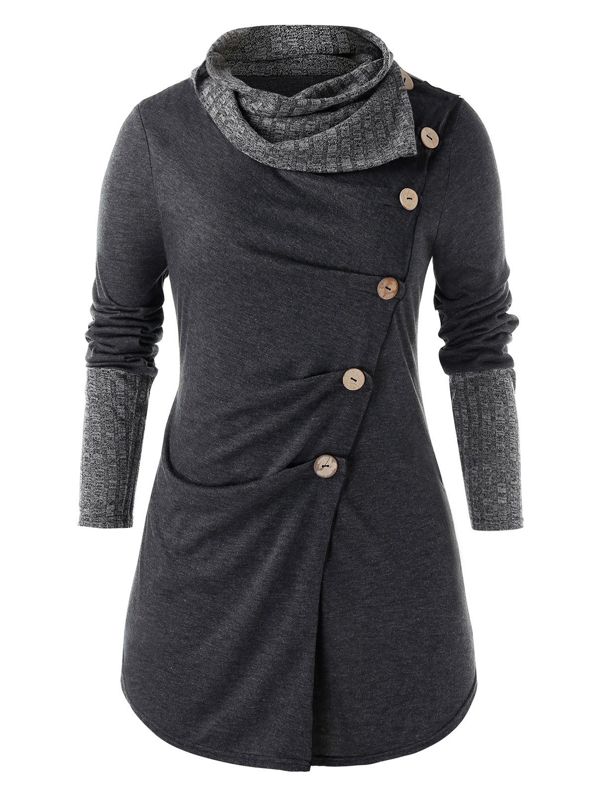 Plus Size Buttons Ruched Cowl Neck Heathered T Shirt