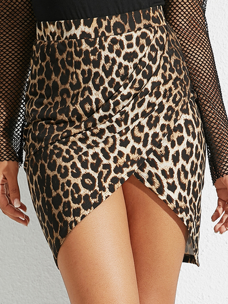 YOINS Brown Leopard Slit Design Leopard High-Waisted Skirt
