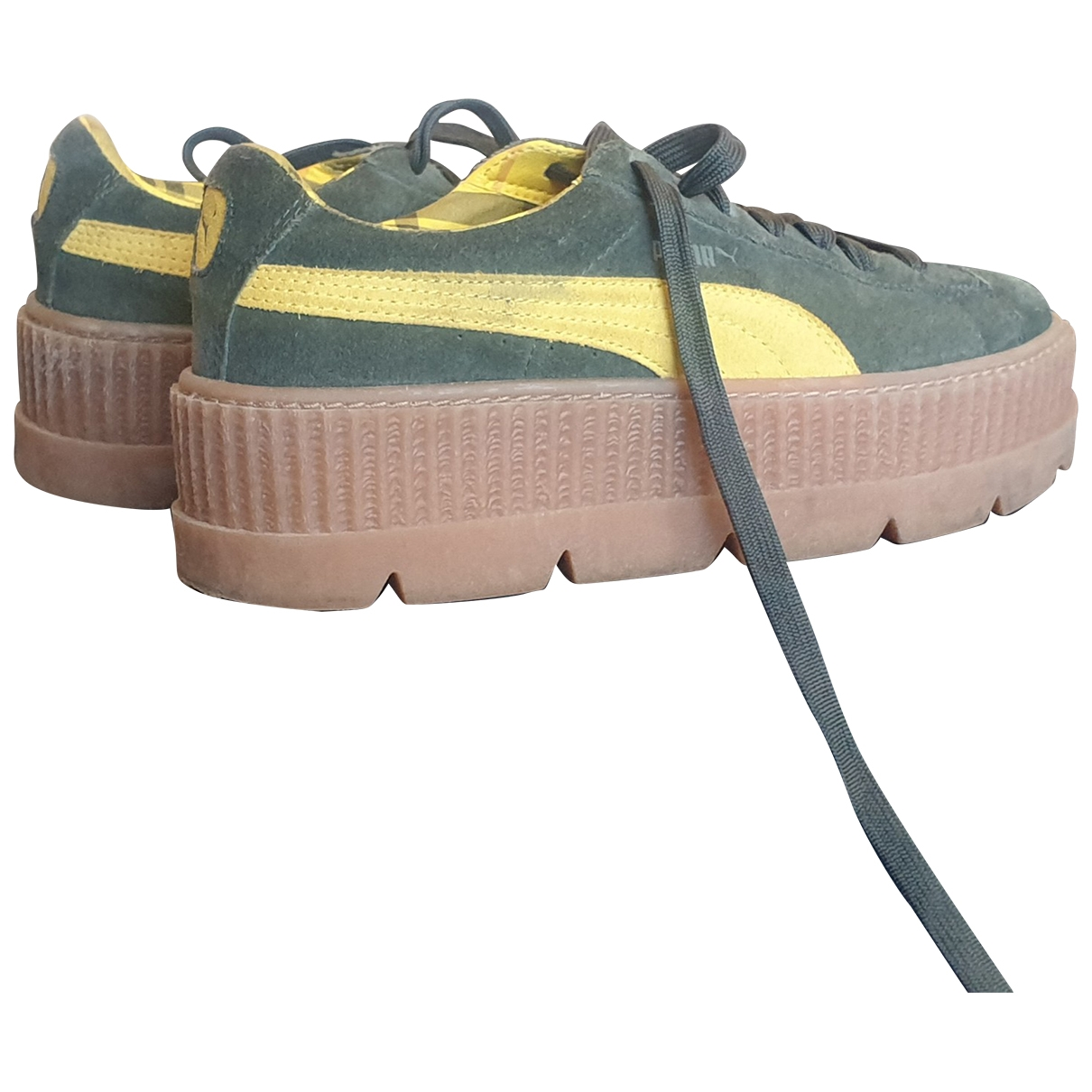 Rihanna X Puma \N Sneakers in  Khaki Veloursleder