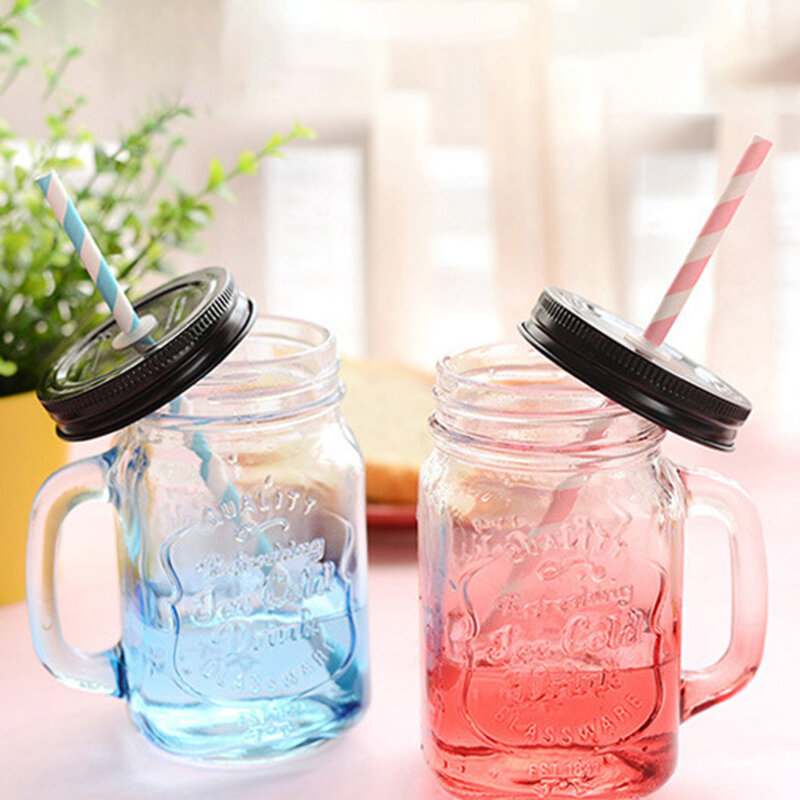 Creative Gradient Color Mason Bottle With Lid With Straw Transparent Glass Water Cup Mason Cup
