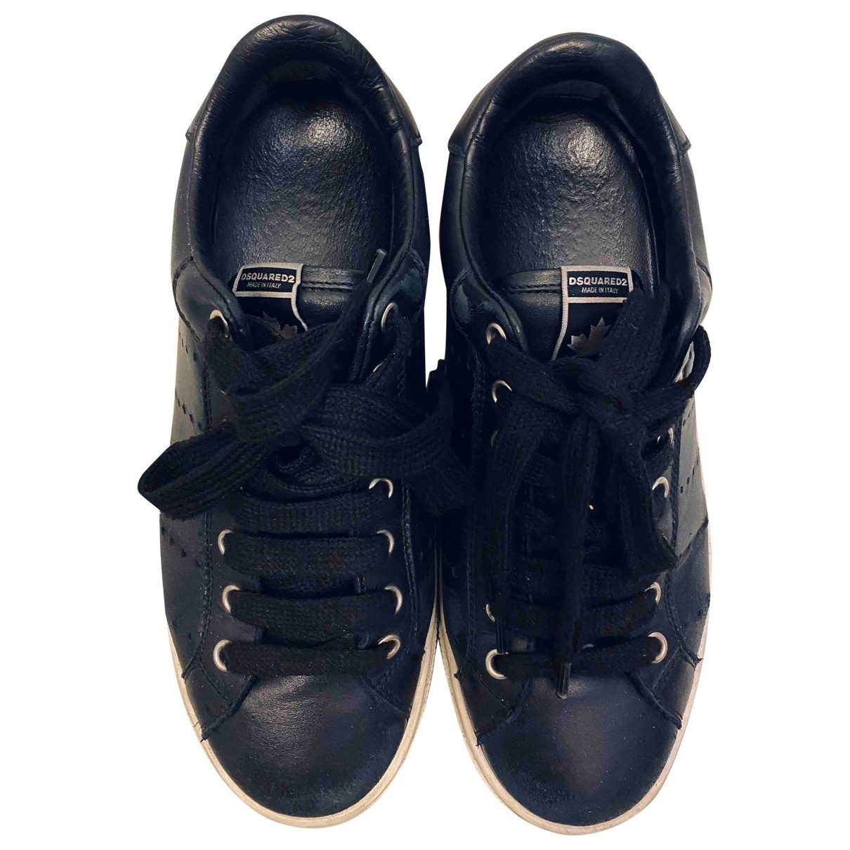 Dsquared2 \N Black Leather Trainers for Women 38 EU