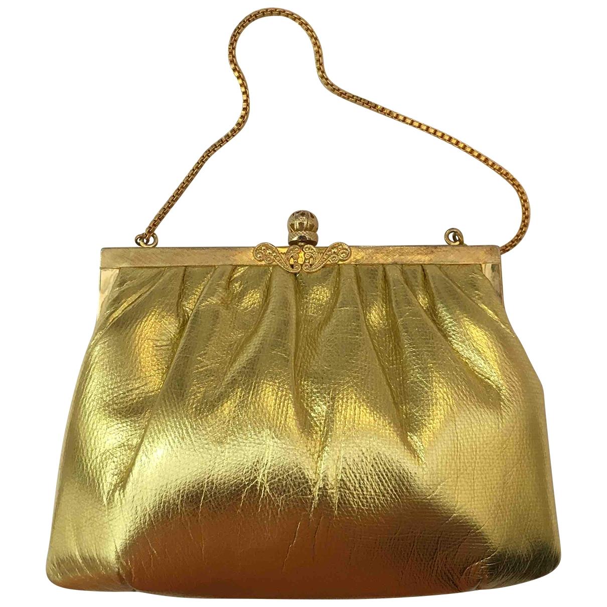 Non Signe / Unsigned \N Handtasche in  Gold Leder