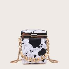 Bolso caja con cadena mini con patron de vaca