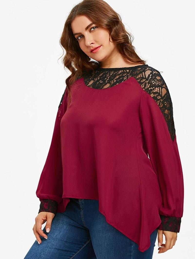 Ericdress Asymmetric Lace Round Neck Plus Size Blouse