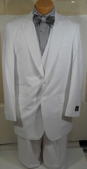 Mens White Shadow Stripe Tone Lapel Wide Leg Pants Vested Suit