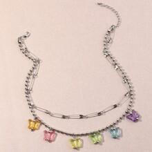 Halskette mit Schmetterling Dekor und Quasten