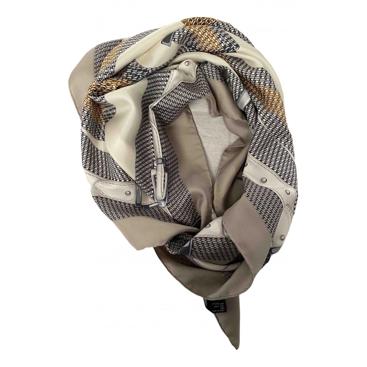 Gucci - Carre   pour femme en soie - beige