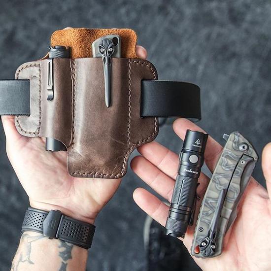EDC Genuine Leather Multitool Flashlight Organizer Gear Sheath Waist Belt Bag