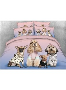 Four Puppies Looking at You Digital Printed Cotton 4-Piece 3D Bedding Sets/Duvet Covers