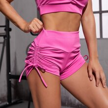 Drawstring Side Wideband Waist Sports Shorts