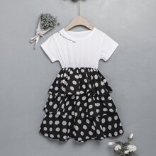 Toddler Girls Letter Graphic Polka Dot Layered Ruffle Dress