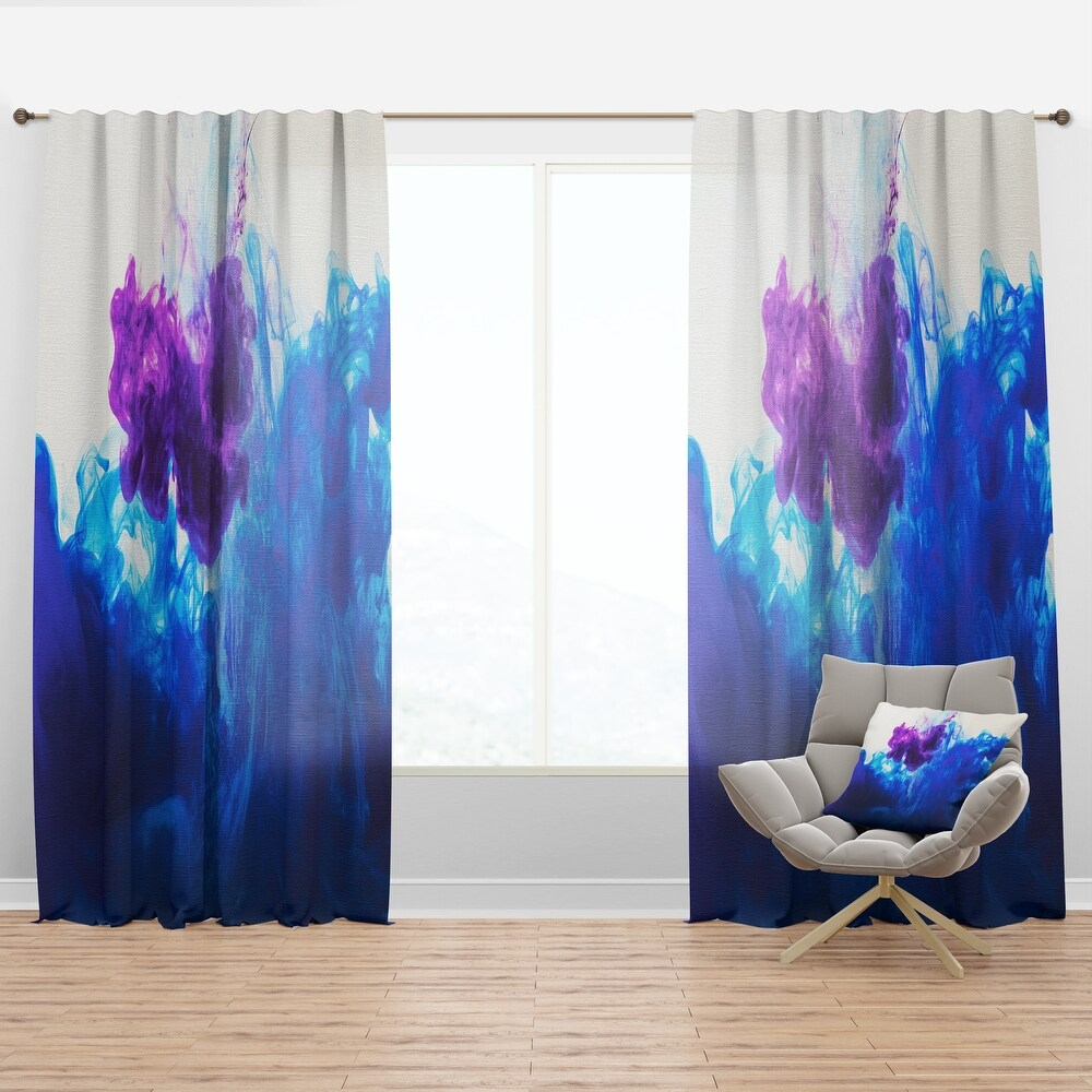Designart 'Blue and Purple Ink Composition' Mid-Century Modern Curtain Panel (50 in. wide x 120 in. high - 1 Panel)