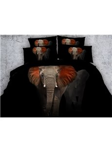3D Red Ears Elephant Printed Cotton 4-Piece Black Bedding Sets/Duvet Covers