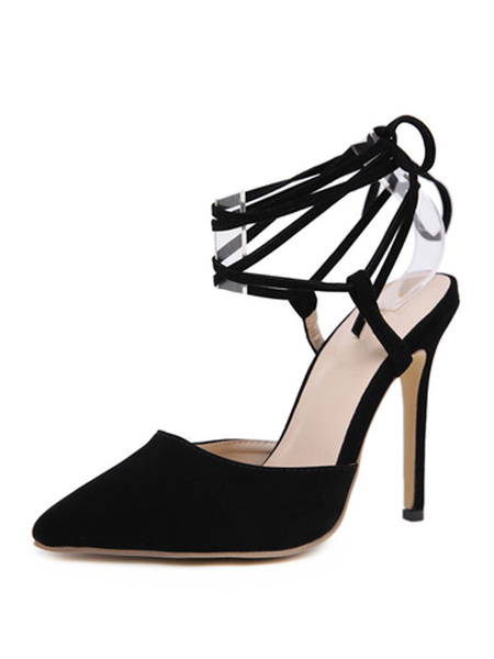 Milanoo Woman\'s High Heels Pointed Toe Stiletto Heel Chic Black Ankle Strap Sandals