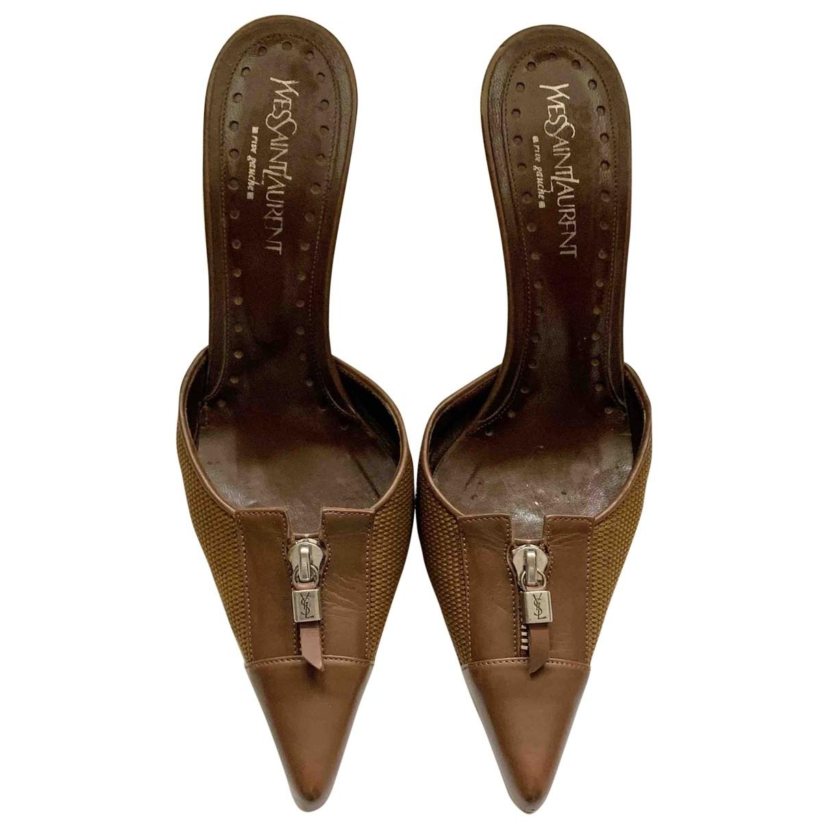 Yves Saint Laurent - Sabots   pour femme en cuir - marron