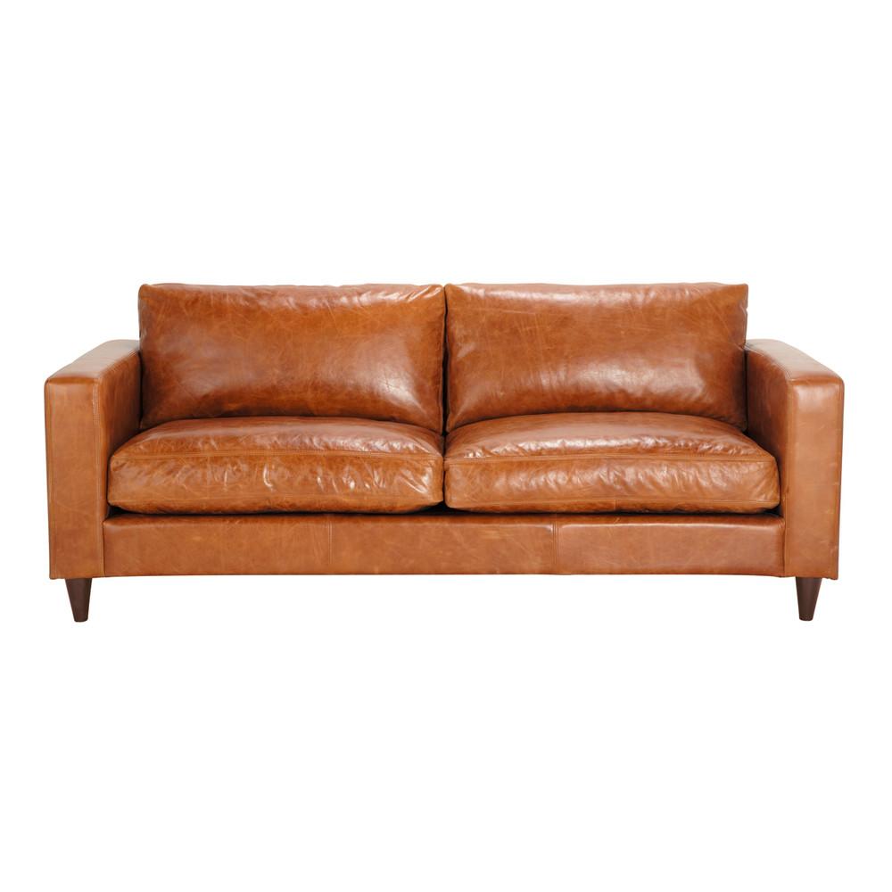 Vintage-Sofa 3-Sitzer aus Leder, camelfarben Henry