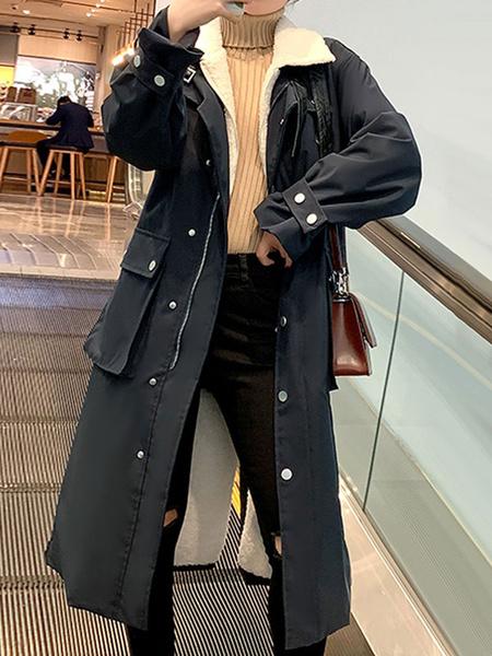 Milanoo Las mujeres de algodon de cuello de cobertura Escudo Escudo Academico Azul marino de lana de invierno