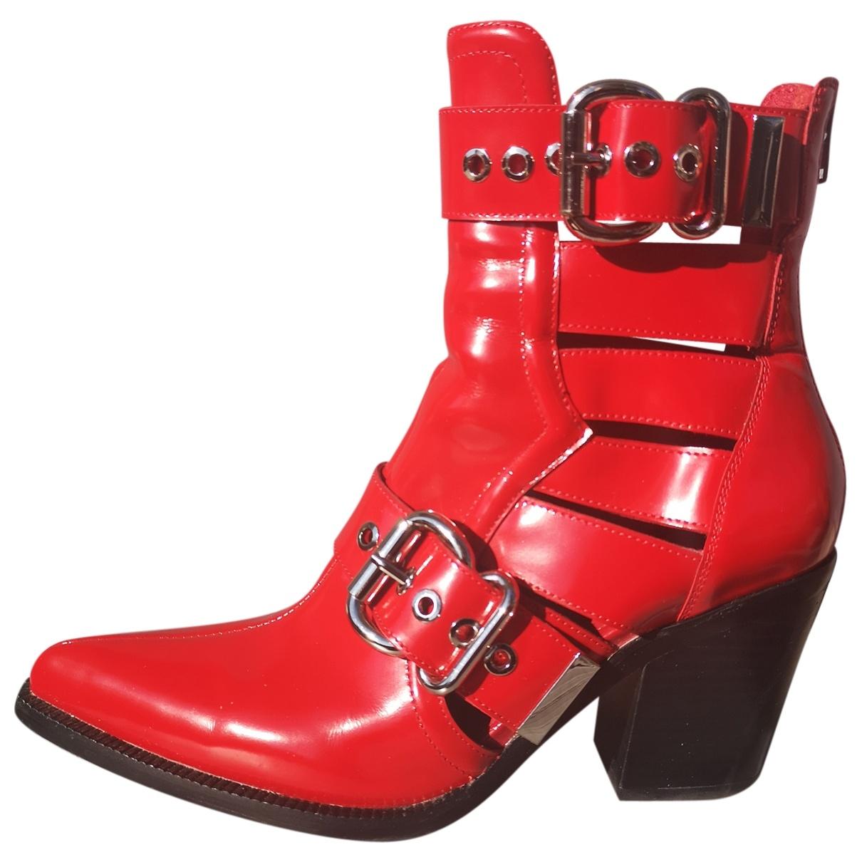 Jeffrey Campbell - Boots   pour femme en cuir - rouge