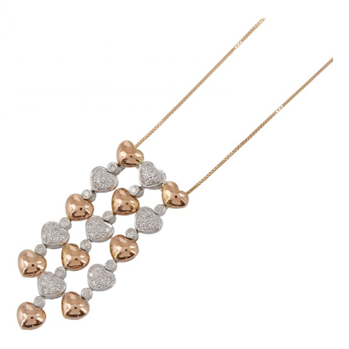 Non Signe / Unsigned Motifs Coeurs Kette in  Gold Rosegold