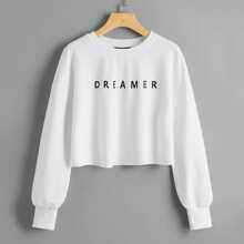 Drop Shoulder Letter Graphic Crop Pullover
