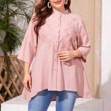 Plus Embroidery Button Front High Low Blouse