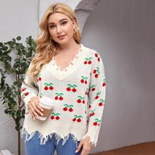 Pullover mit Kirschen Muster und Riss