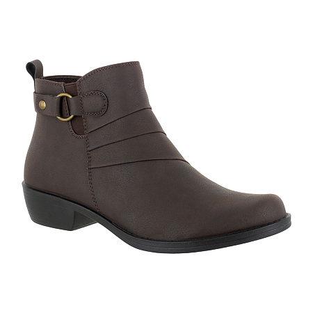 Easy Street Womens Shanna Booties Block Heel, 8 Narrow, Brown