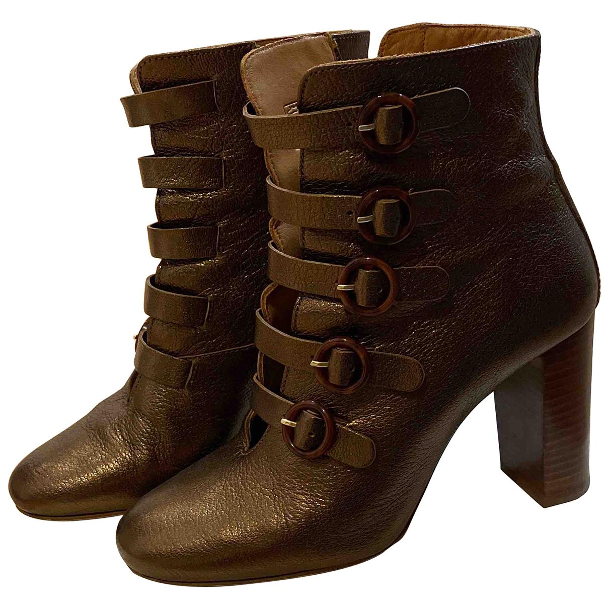 Sezane - Boots   pour femme en cuir - dore