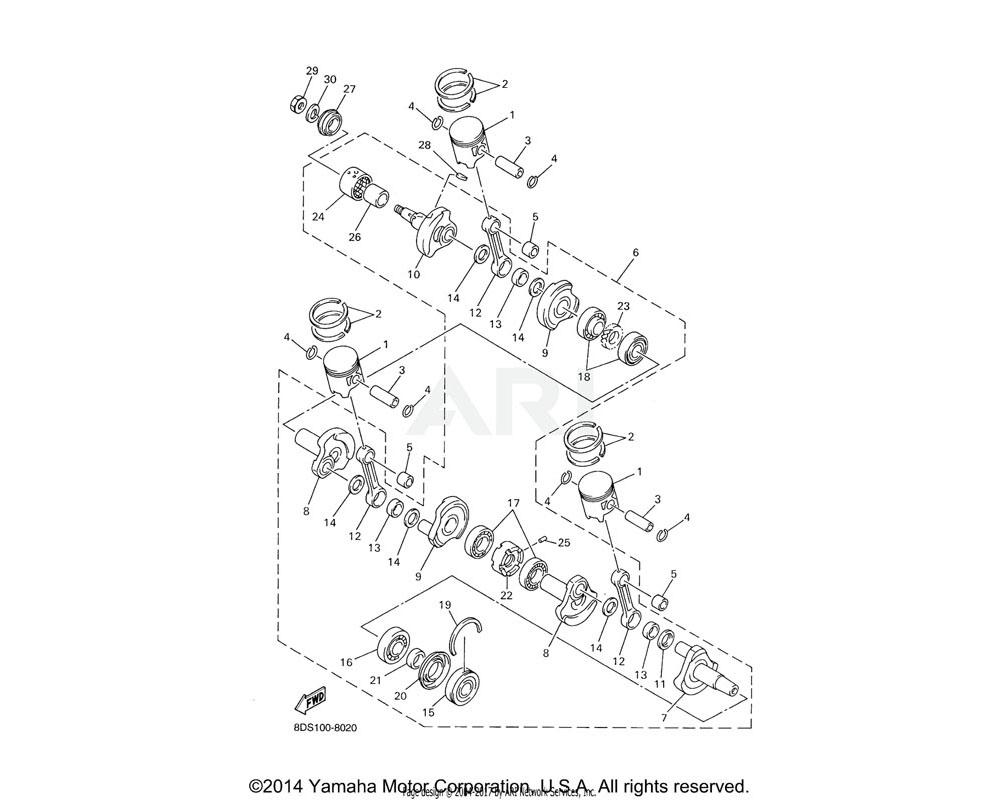 Yamaha OEM 8CH-11603-00-00 PISTON RING SET (STD) | SX700