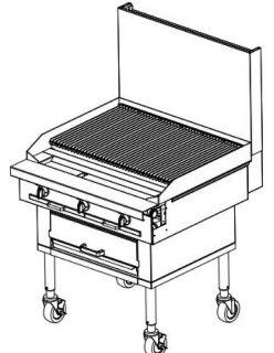 P48WCCCC Platinum Series Sectional Charbroiler Range with All Stainless Steel Construction  Eight Standard Burners  and Woodsmoker Base. Up to 128000