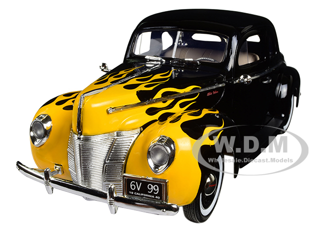 1940 Ford Deluxe Black with Yellow Flames