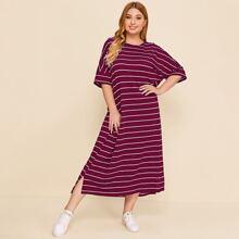 Plus Split High Low Hem Striped Tee Dress