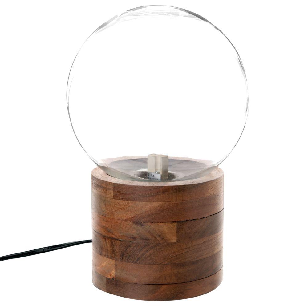 Kugellampe aus Akazienholz und Glas