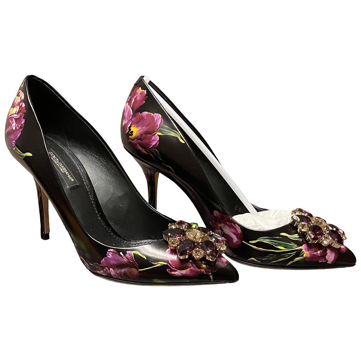 Dolce & Gabbana Taormina Black Leather Heels for Women 36.5 IT